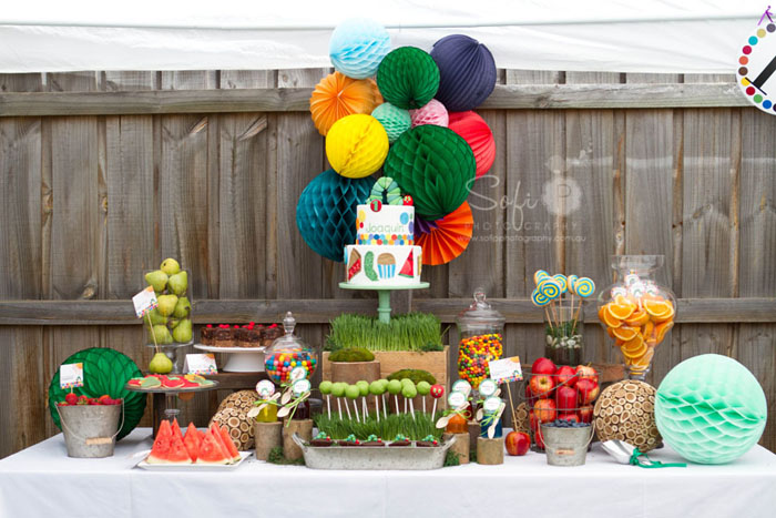 Very Hungry Caterpillar Inspired Dessert Table