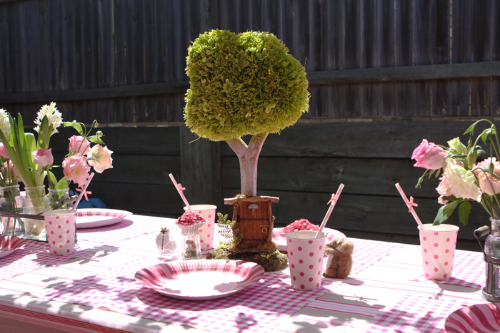 Pretty Table Set Up for Woodland Party