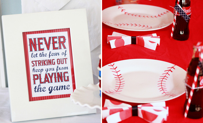 Baseball Party Signage and Table Decor
