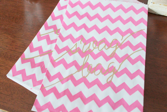 Pink Chevron Favor Bags