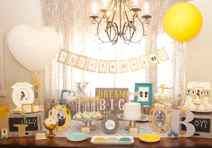 Yellow and Turquoise Gender Reveal party
