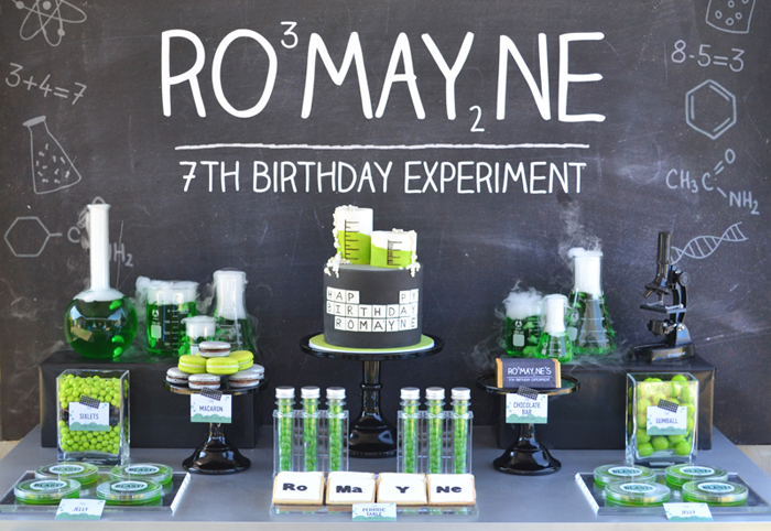Classroom Birthday Party Favors ~ Mad scientist guest dessert feature amy atlas events