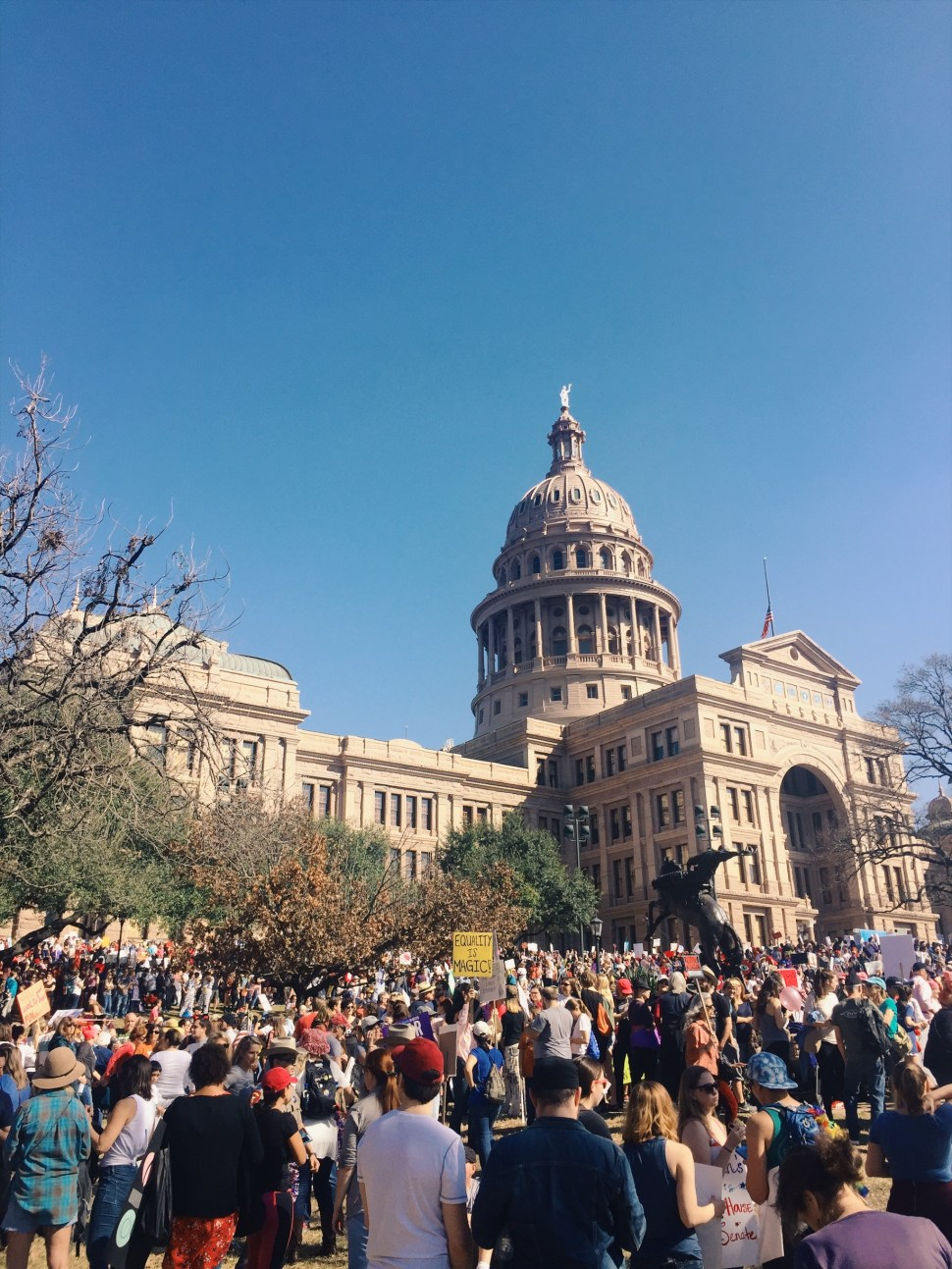 Downtown Austin during the Women's March