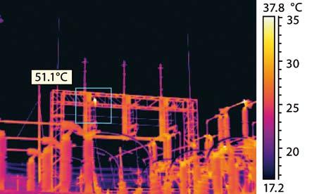 Immagine realizzata con una risoluzione di 320x240 pixel. Grazie al maggior numero di pixel è possibile una lettura più precisa della temperatura nel punto caldo.