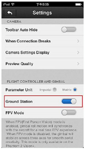 How to abilitate the Ground Station in the DJI VISION APP