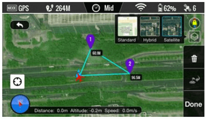 Interfaccia Ground Station APP DJI VISION