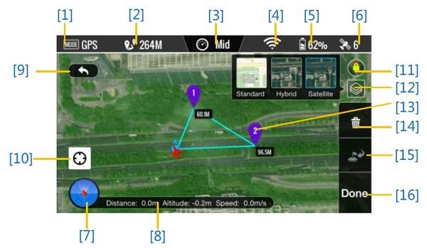 Interfaccia e funzioni APP DJI VISION
