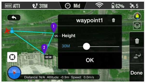 Scorrete il pallino Bianco per regolare la quota del WAYPOINT