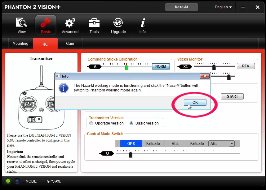 Configurazione switch S2 Phgantom 2 Vision PLUS