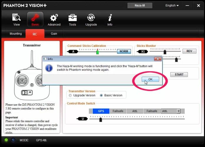 Configurazione switch S2 Phgantom 2 Vision PLUS