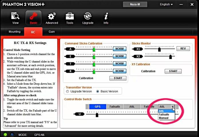 Come configurare lo switch S1 Phantom 2 Vision PLUS