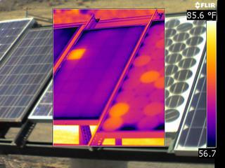 Hot spots on Solar Panel IR Image
