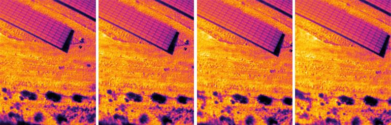 Sequenza volo termografico per ispezioni a pannelli fotovoltaici con drone
