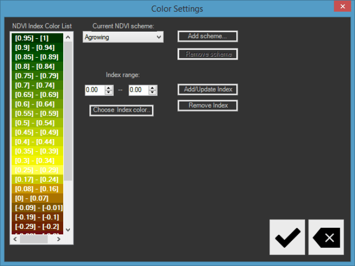 Pic. 3 Colour Palette Setting Options in AgroSENSE