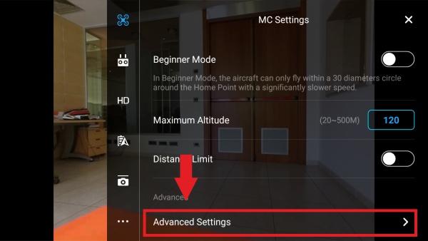 Deactivate the positioning sensors on VPS on Phantom 3 Adv