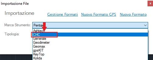 menu importazione file libretto analist cloud software di topografia basato su tecnologia Autodesk
