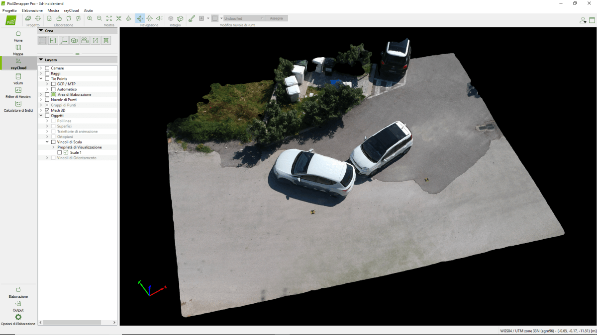 incidente - modello pix4dmapper