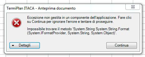 TermiPlan errore compilazione protocollo ITACA