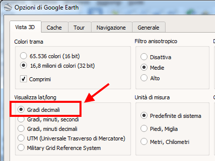 Settaggio gradi decimali google earth