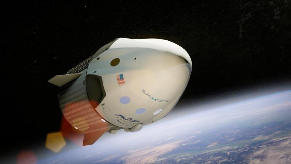 スペースXが開発する有人型ドラゴン宇宙船の想像図