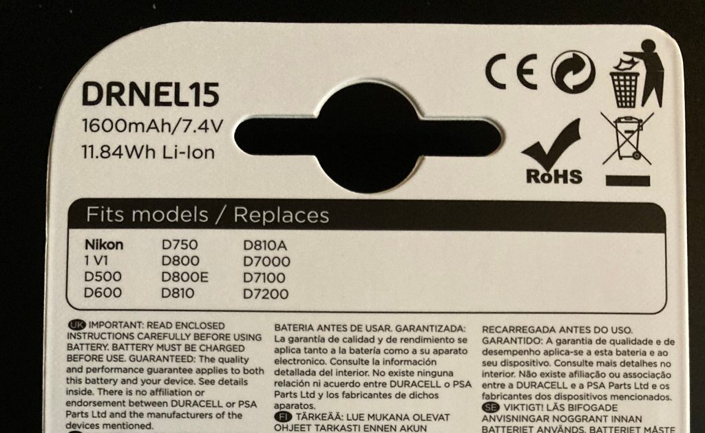 Back of the duracell DRNEL15 packaging