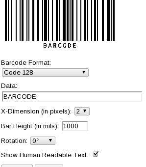 Códigos de barras en linea