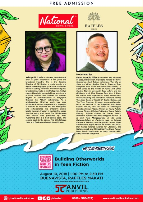 KM Levis and Dean Francis Alfar talks about Building Otherworlds in Teen Fiction on August 10, 1:00 pm to 2:30 pm