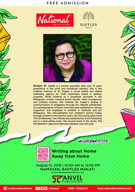 "KM Levis talks about ""Writing about Home Away from Home"" on August 12, 10 am to 12 pm, at Raffles Makati."
