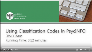Screenshot of tutorial title screen for Using Classification Codes in PsycINFO (EBSCOhost)