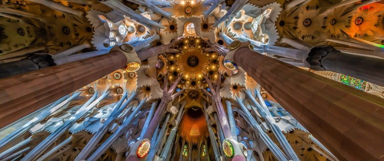 Sights to see in Barcelona: interior design of the Sagrada Familia, the nº1 sight in Barcelona