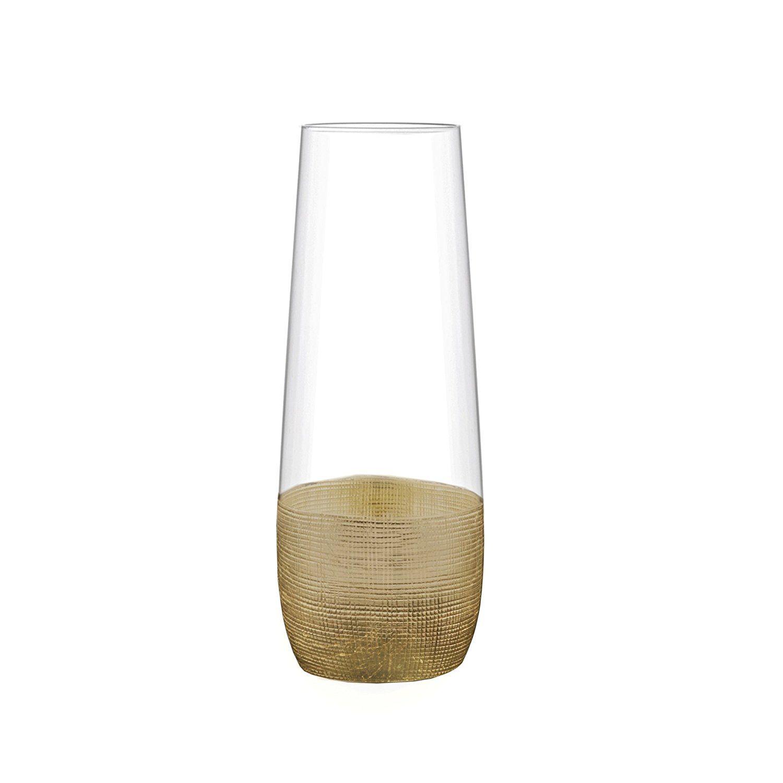 Winter Cocktail Bar Cart Essentials | Gold Linen-Print Stemless Champagne Flutes