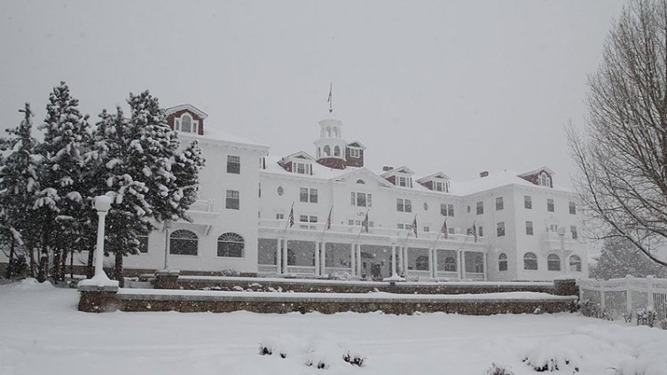 """The Stanley Hotel - inspiration for The Shining and its own ghosts, too: <a href=""""http://en.wikipedia.org/wiki/The_Stanley_Hotel#mediaviewer/File:Stanley_in_Snow.JPG"""" target=""""_new"""">image credit</a>"""