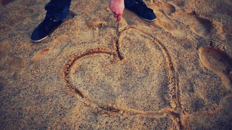 message on beach