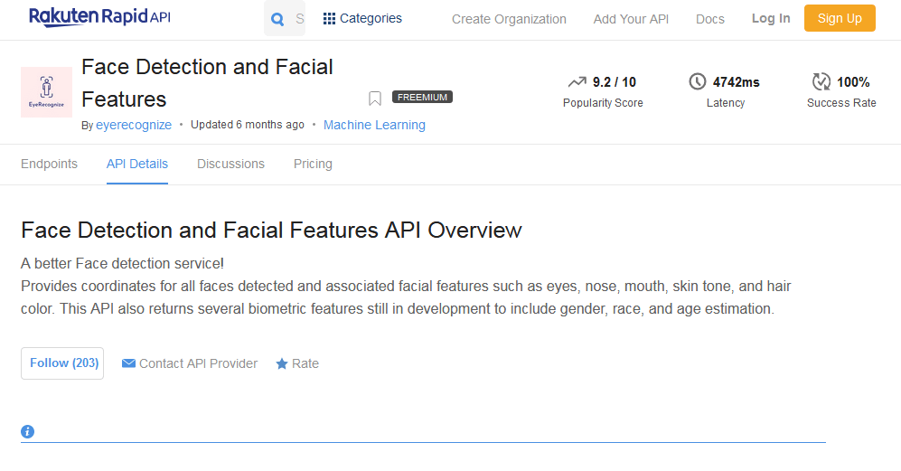 Face Detection and Facial Features API