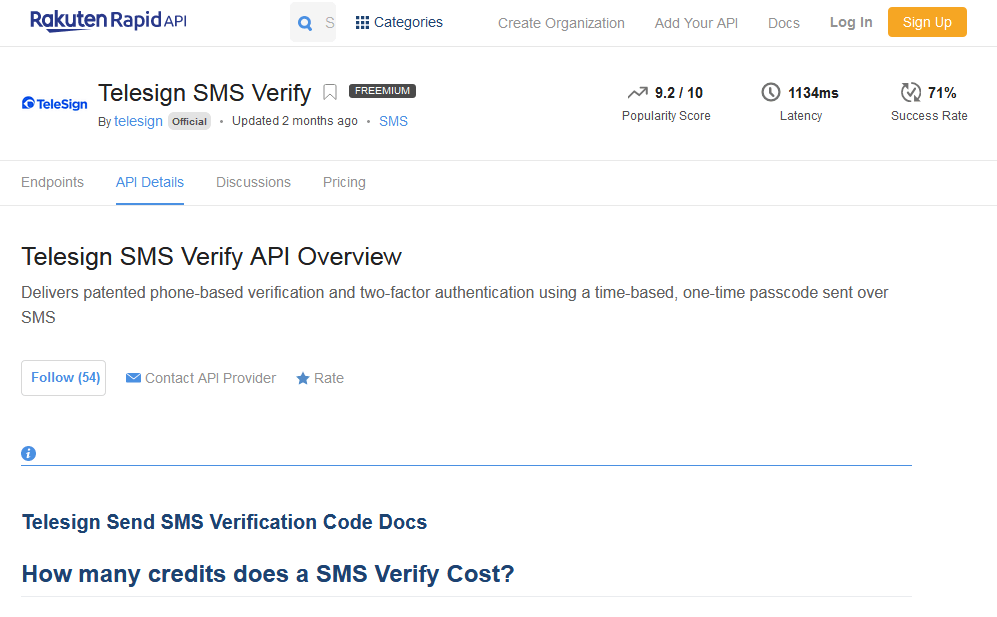 TeleSign SMS Verify API
