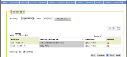 Sample Screenshot containing list of bookings of a facility on a given day