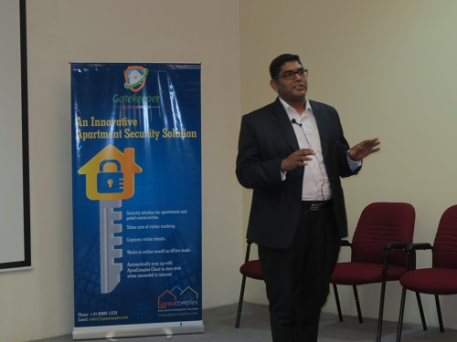 Mr. Sathish Rajendran from Cushman & Wakefield talking on points to consider for large apartment management