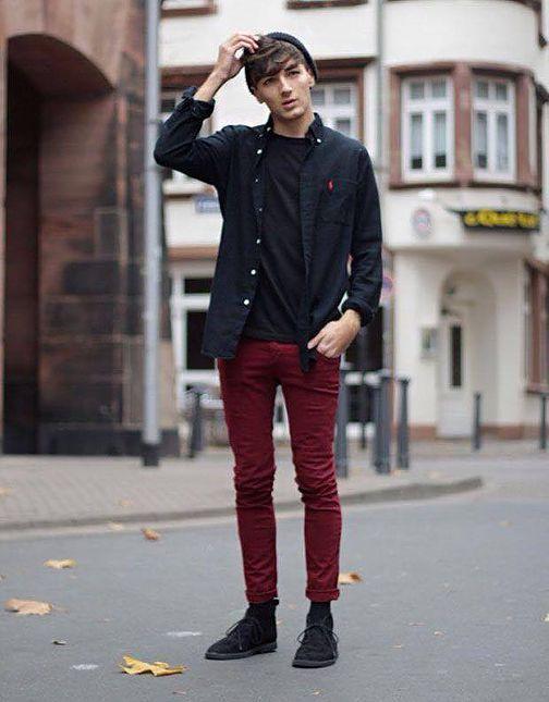 calça-bordo-masculina-camisa-preta