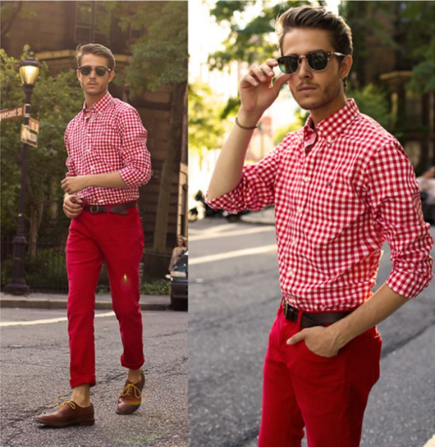 calça-vermelha-camisa-xadrez
