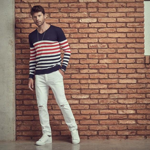 tricot masculino listras Salth com calça branca
