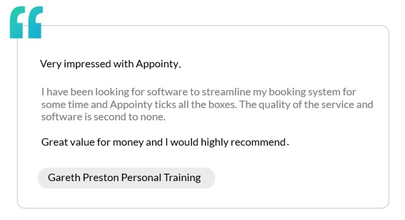 A testimonial by Gareth Preston Personal Training that recommends Appointy's sports facility management software.