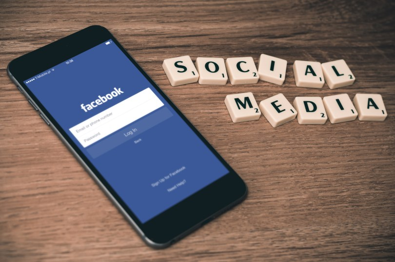 Facebook app displayed on a phone