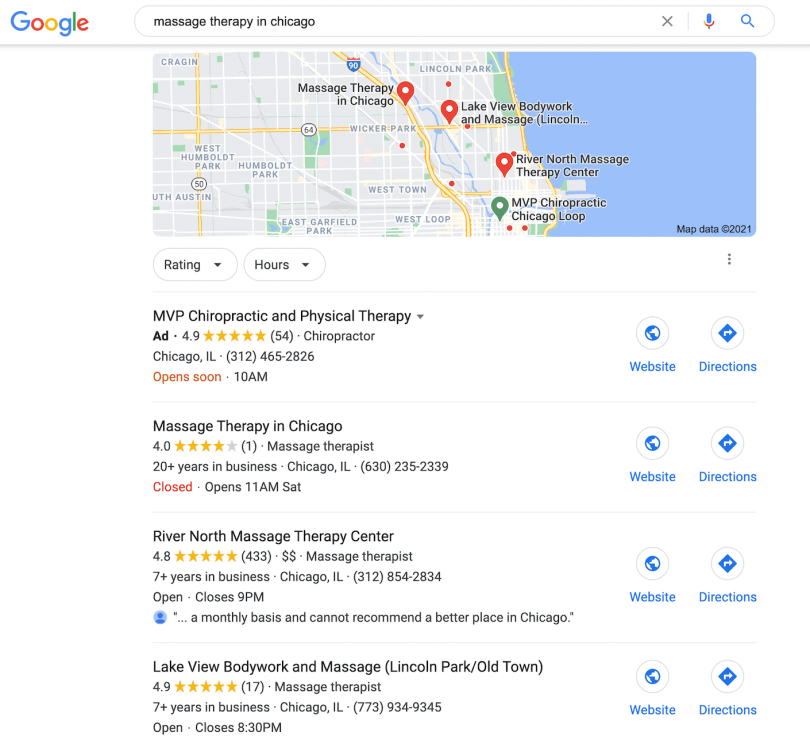 Google search results for 'massage therapy in Chicago' showing massage businesses along with their business details