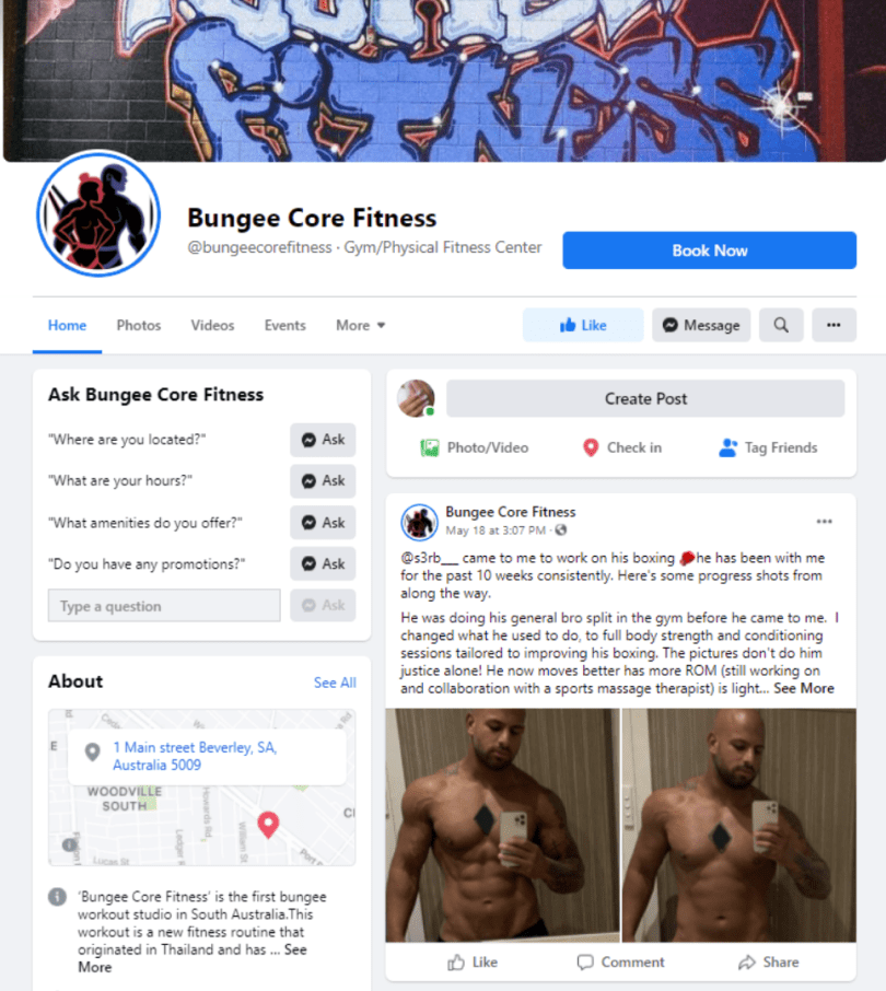Facebook page of Bungee Core Fitness with a book now button
