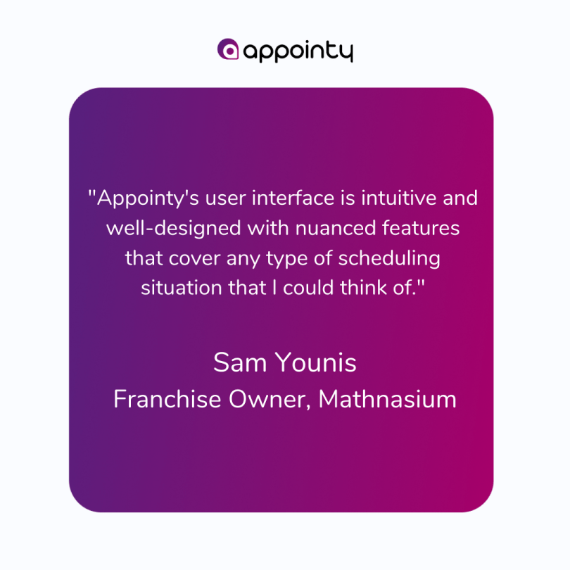Appointy's testimonial by mathnasium