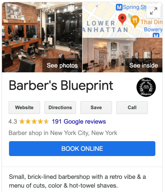 Example of a book button on Google