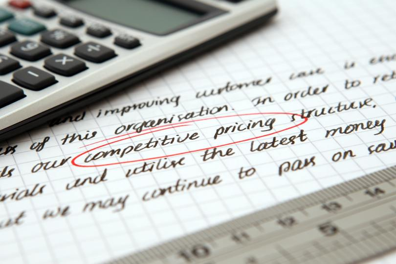 A document talking about competitive pricing