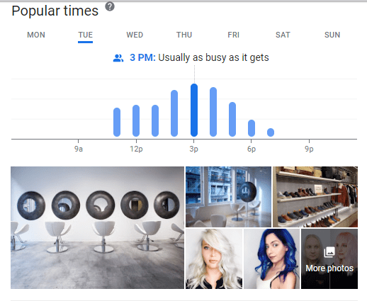 Google My Business listing showing popular times