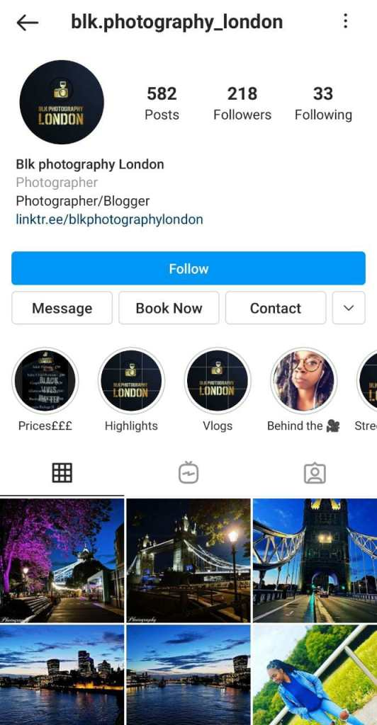 Instagram page of Blk Photography with Book Now CTA