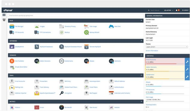 cPanel User Inteface (GUI)